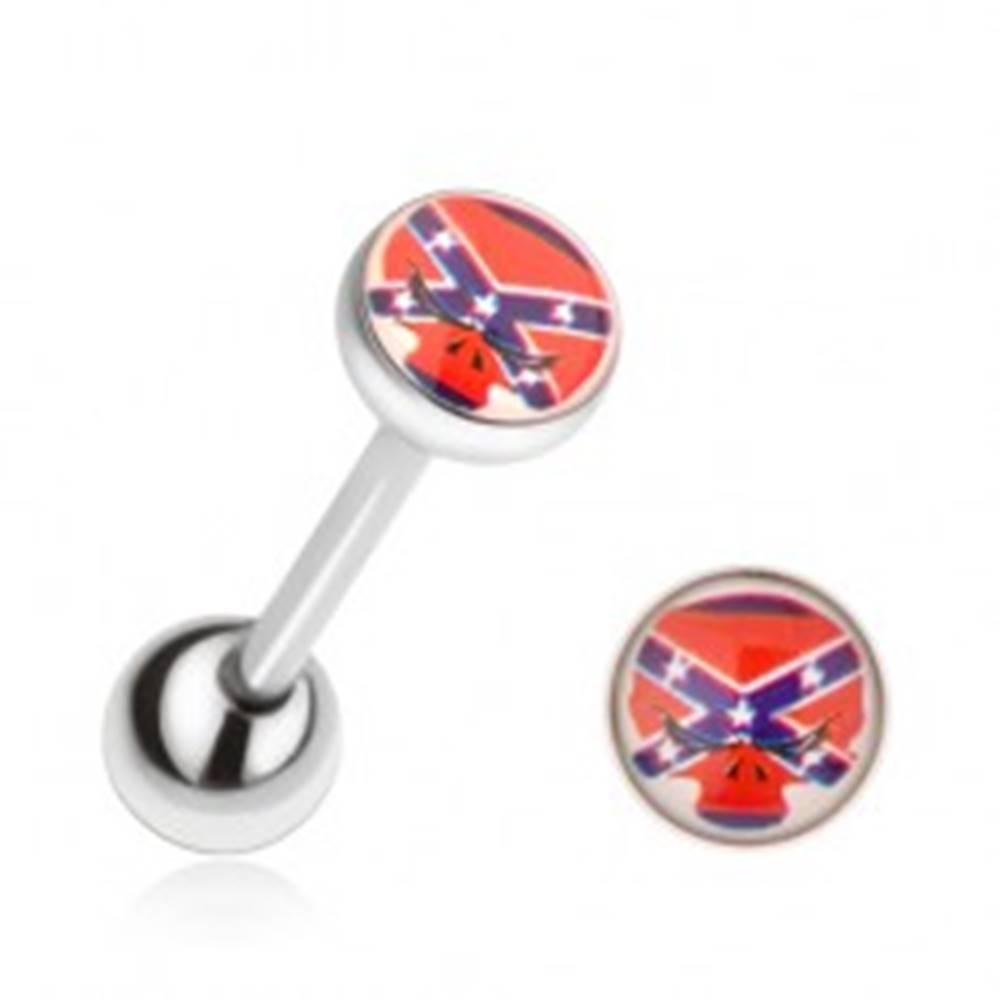 Šperky eshop Oceľový piercing do jazyka, vlajka Konfederácie, býk