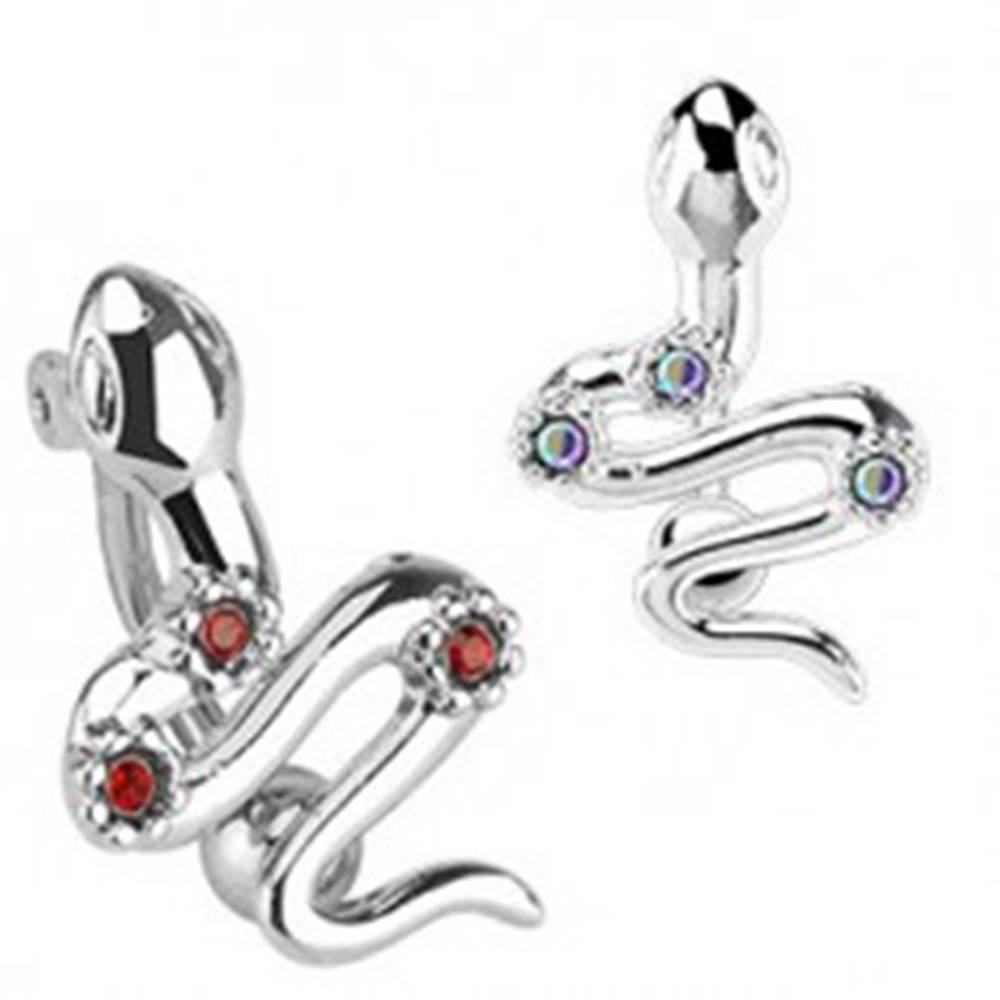 Šperky eshop Oceľový piercing do pupka - had s tromi farebnými zirkónmi - Farba zirkónu: Červená - R