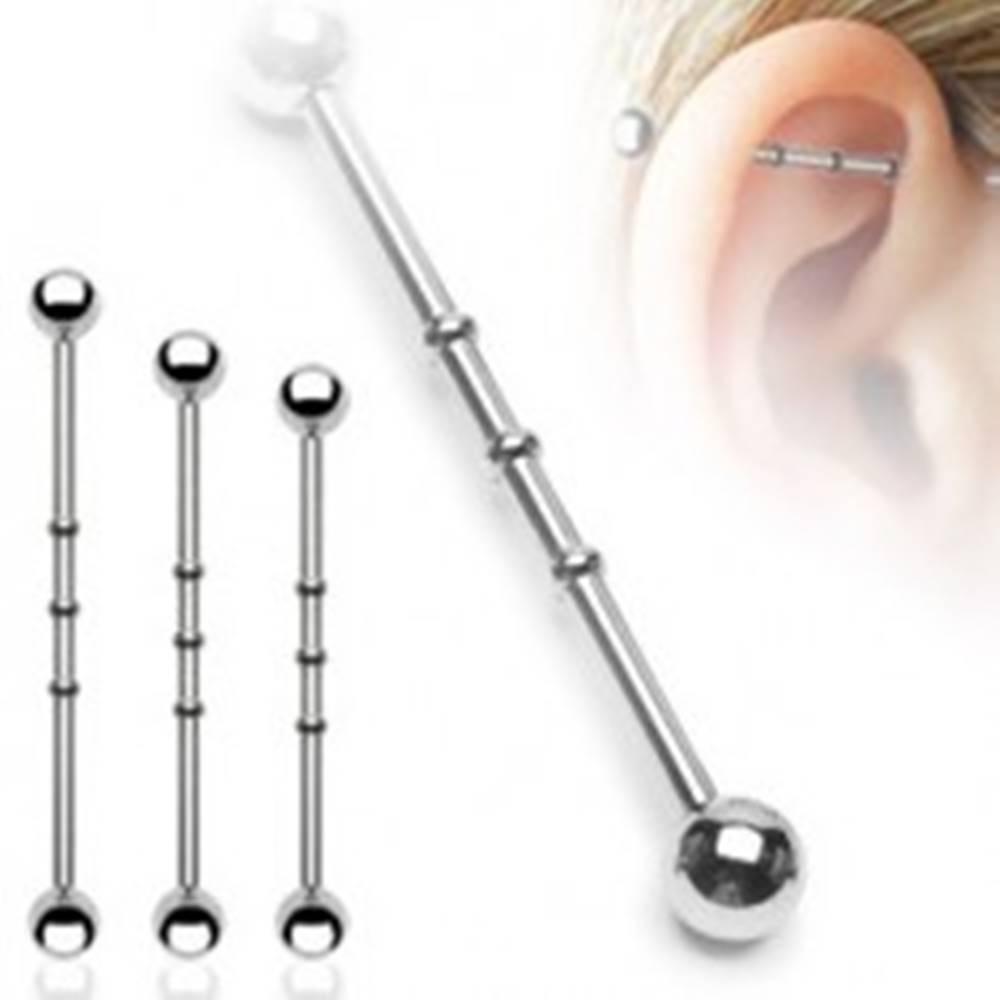Šperky eshop Oceľový piercing do ucha s troma malými obručami a guličkovým zakončením