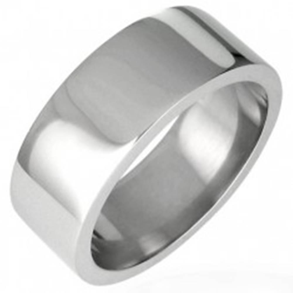 Šperky eshop Oceľový prsteň lesklý, rovný s hranou 8 mm - Veľkosť: 51 mm