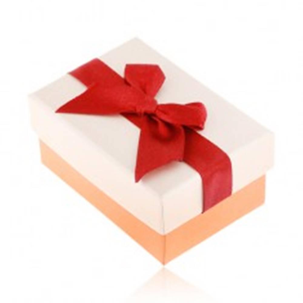 Šperky eshop Papierová krabička na obrúčky, béžovo-bronzový povrch, bordová stuha