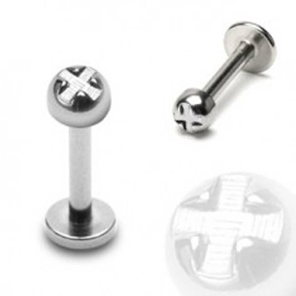 Šperky eshop Piercing do brady a pery - polguľa s krížom