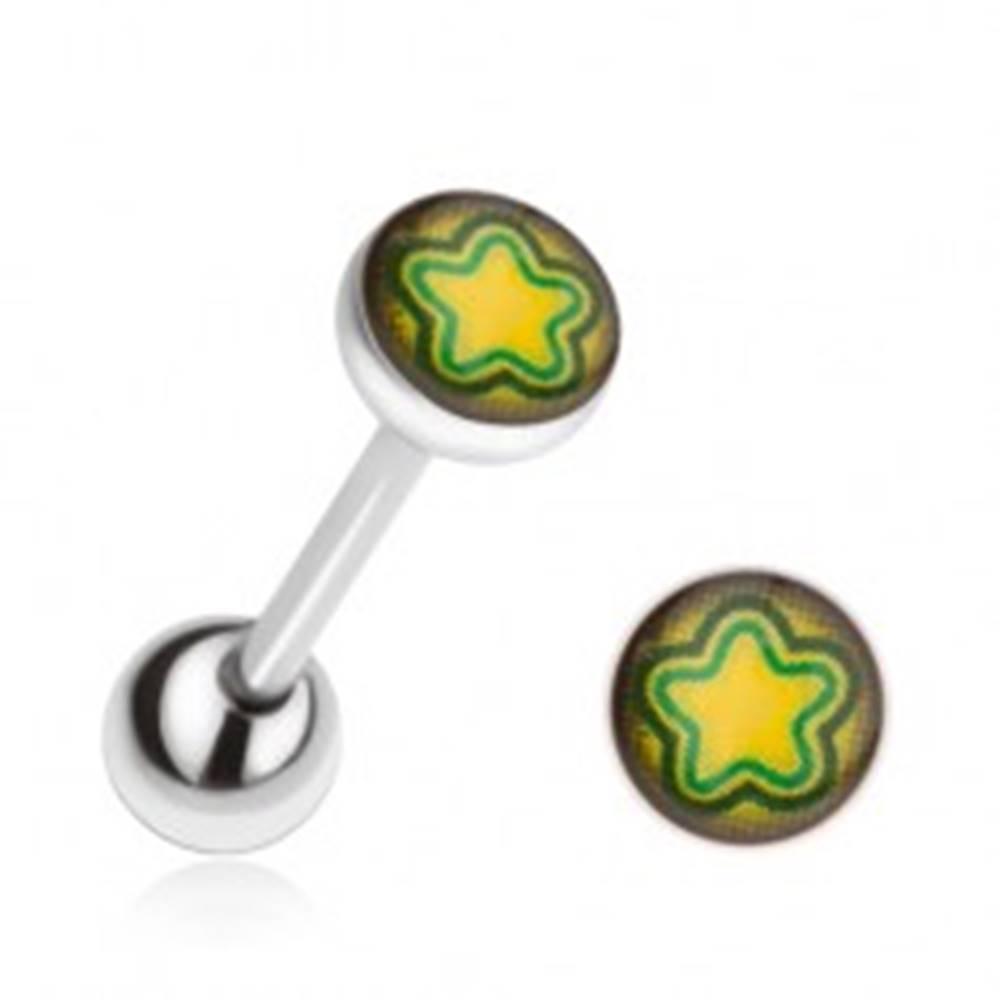 Šperky eshop Piercing do jazyka z ocele, žlto-zelená hviezda