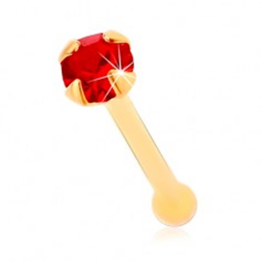 Šperky eshop Piercing do nosa zo žltého 14K zlata, rovný - okrúhly zirkónik červenej farby, 1,5 mm