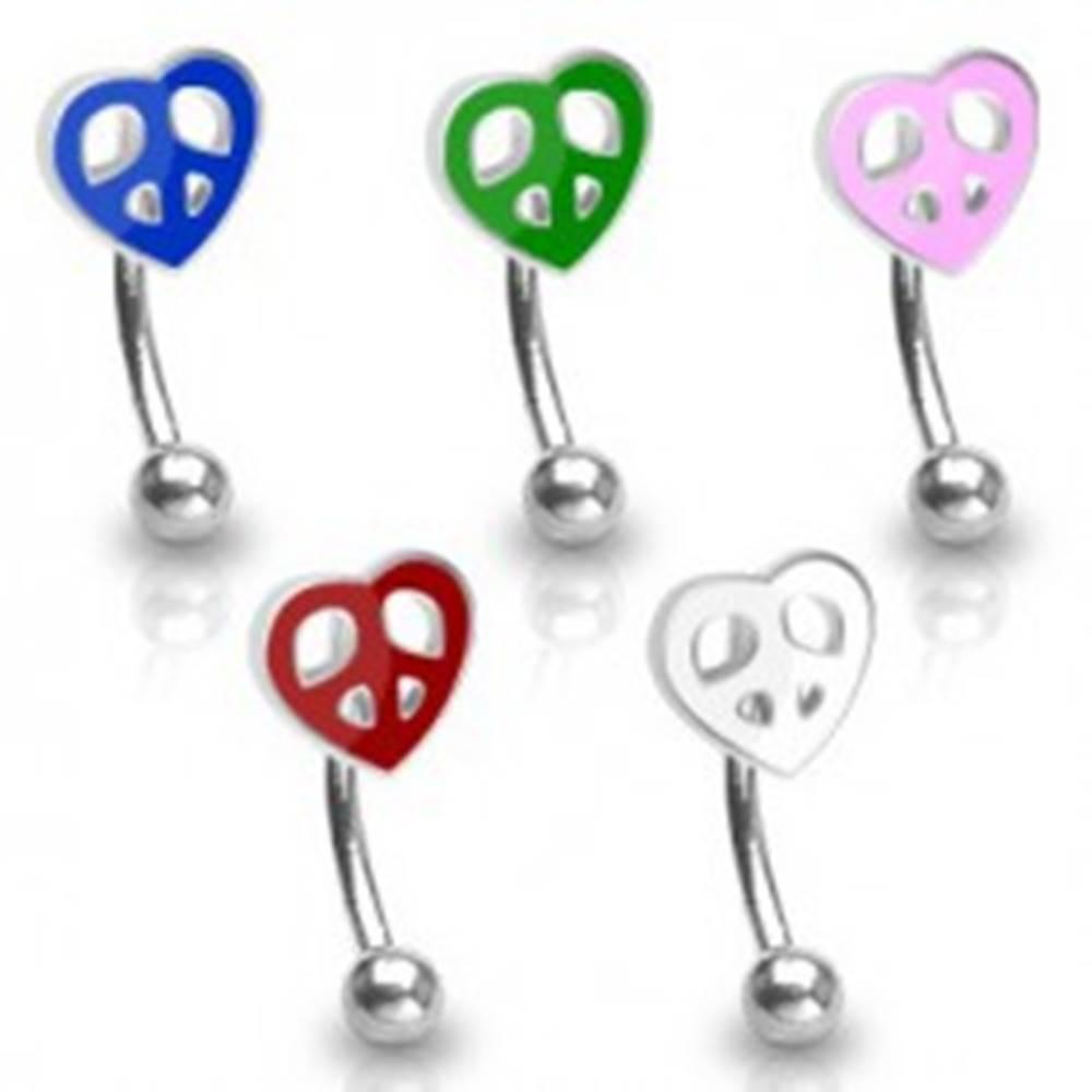 Šperky eshop Piercing do obočia eyebrow - srdce farebné - Farba zirkónu: Červená - R