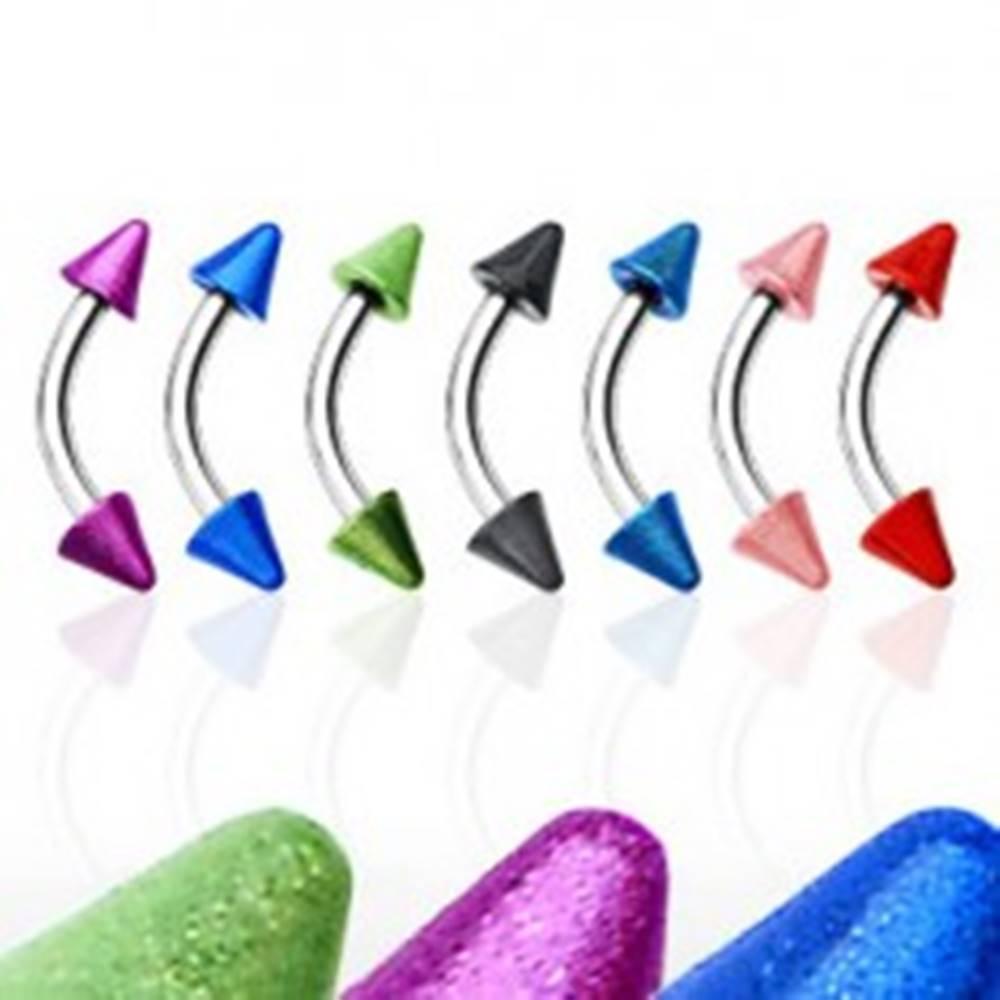Šperky eshop Piercing do obočia s dvoma farebnými hrotmi - Farba zirkónu: Červená - R