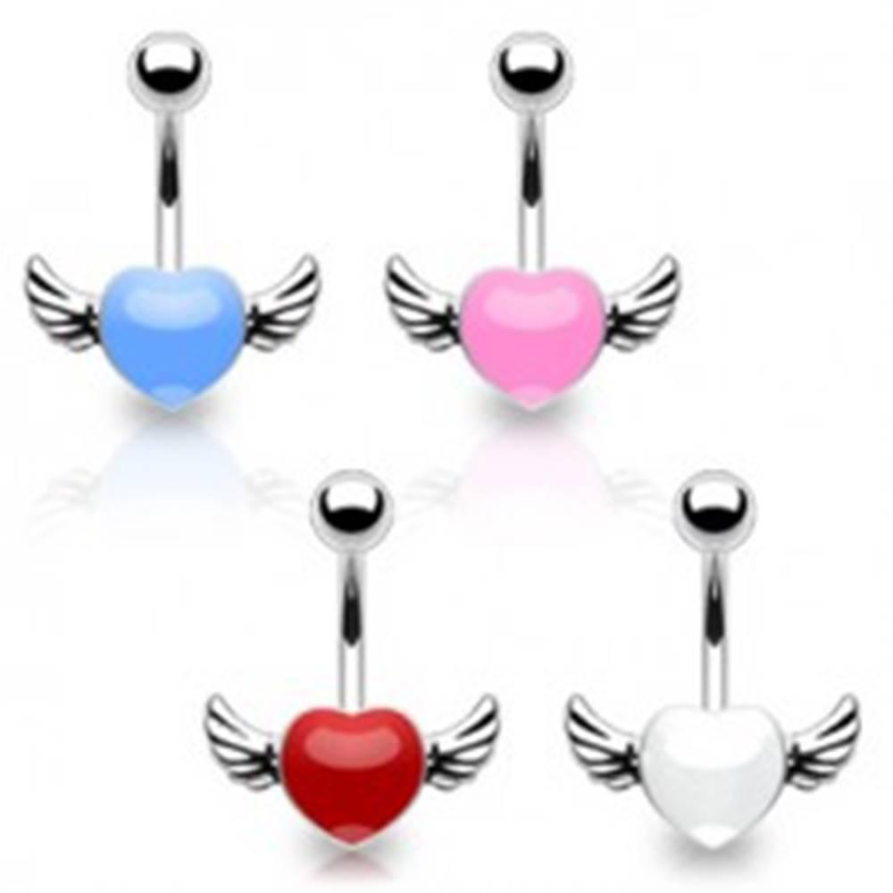 Šperky eshop Piercing do pupka z chirurgickej ocele - farebné srdce s krídlami - Farba piercing: Biela