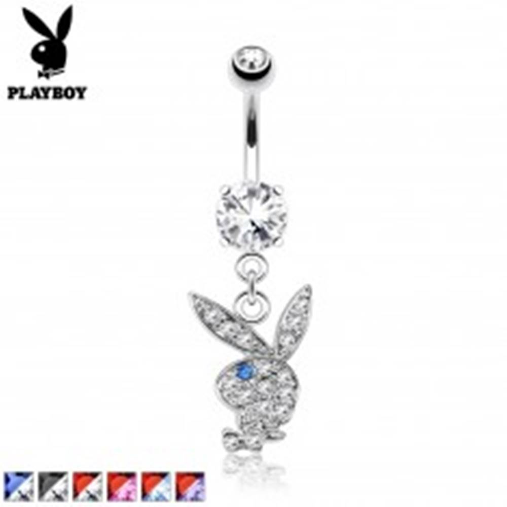 Šperky eshop Piercing do pupka z ocele, farebný zirkónový zajac Playboy - Farba zirkónu: Aqua modrá - Červená