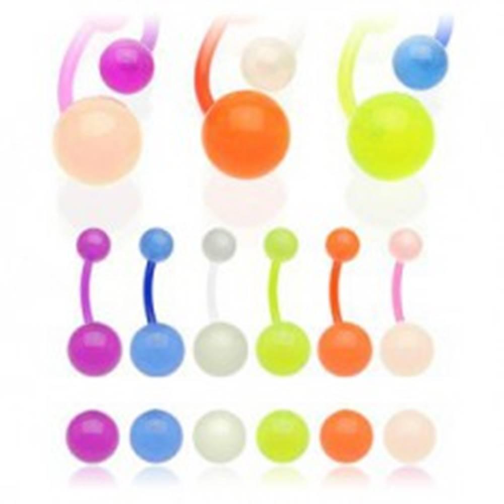 Šperky eshop Piercing do pupku s polopriesvitnými guličkami - Farba piercing: Fialová