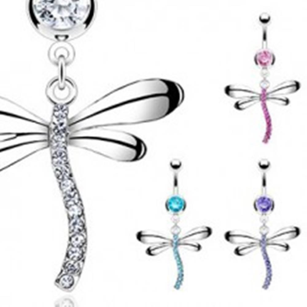 Šperky eshop Piercing do pupku v tvare vážky vykladaný zirkónmi - Farba zirkónu: Aqua modrá - Q