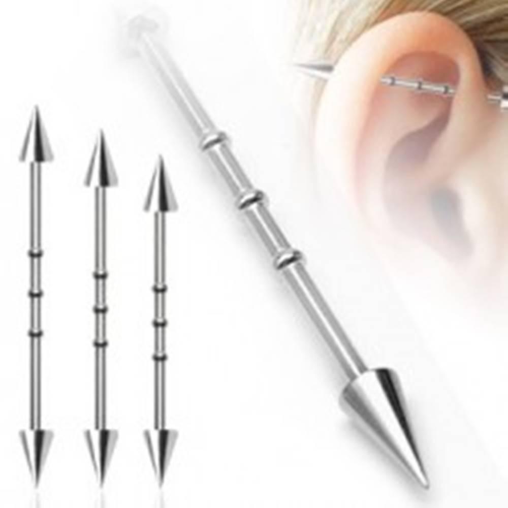 Šperky eshop Piercing do ucha s troma malými obručami a hrotovým  zakončením - Dĺžka piercingu: 32 mm