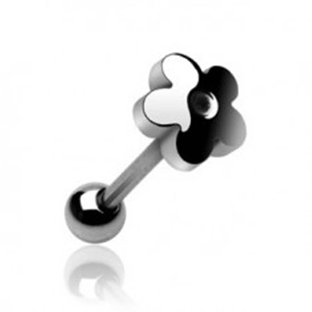 Šperky eshop Piercing jazyka z ocele - rovná tyčka zdobená kvietkom s oblými lupeňmi