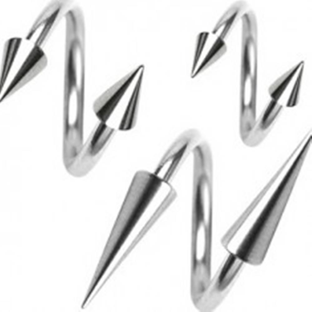 Šperky eshop Piercing z chirurgickej ocele, špirálka s hrotom, 1,6 mm - Rozmer: 11 mm x 4x12 mm