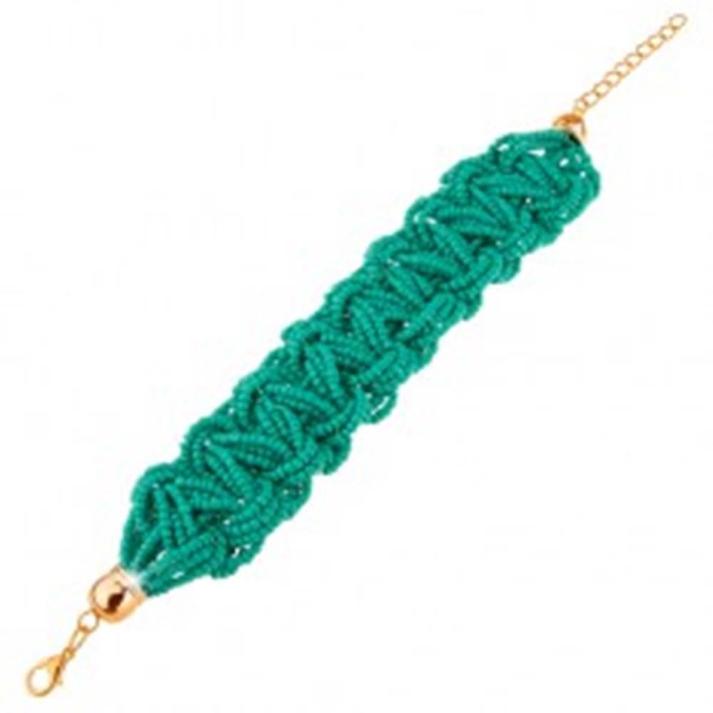 Šperky eshop Pletený korálkový náramok, tyrkysová farba, karabínkové zapínanie