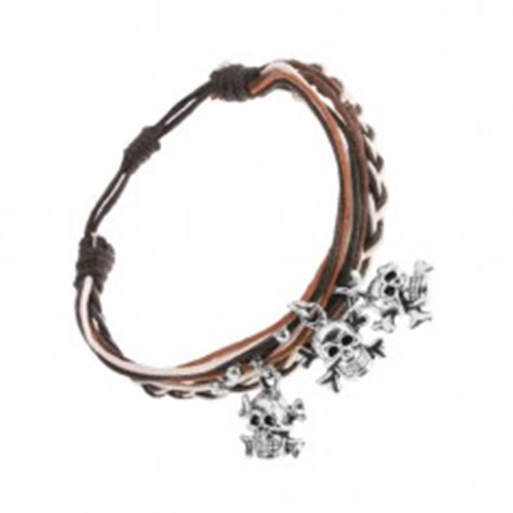 Šperky eshop Pletený náramok, hnedé, čierne a biele motúziky, oceľové lebky s kosťami