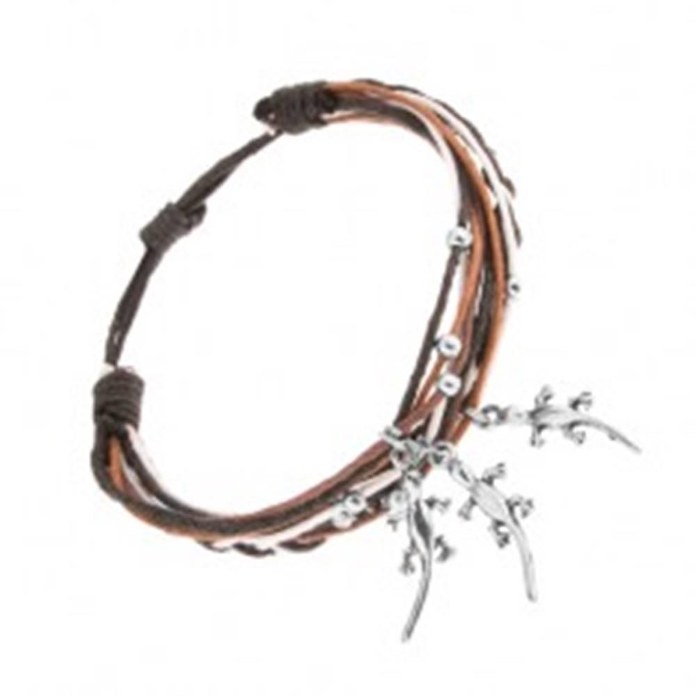 Šperky eshop Pletený náramok, rôznofarebné šnúrky, oceľové ozdoby - guľôčky a jašteričky