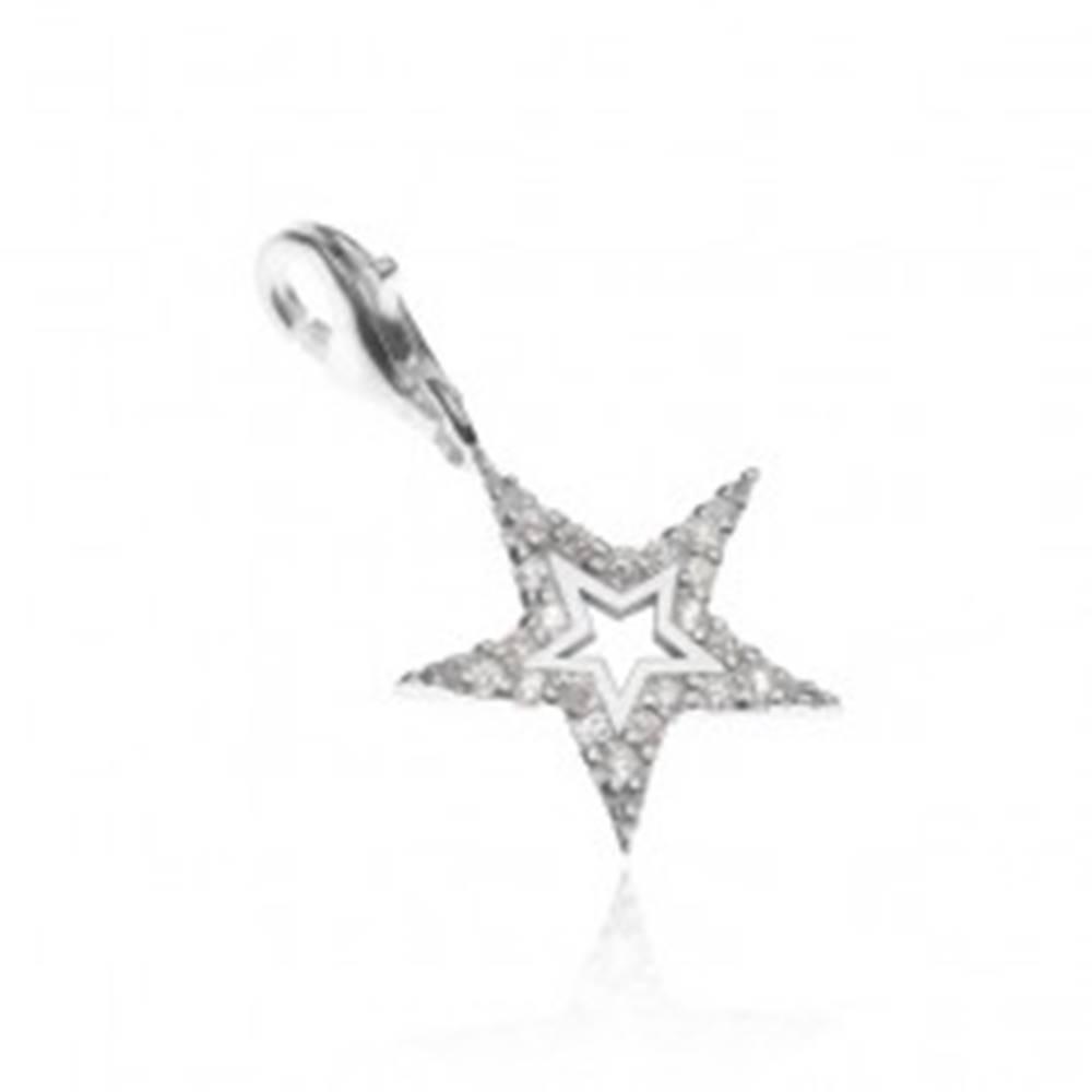 Šperky eshop Prívesok na náramok zo striebra 925 - trblietavá hviezda s výsekom