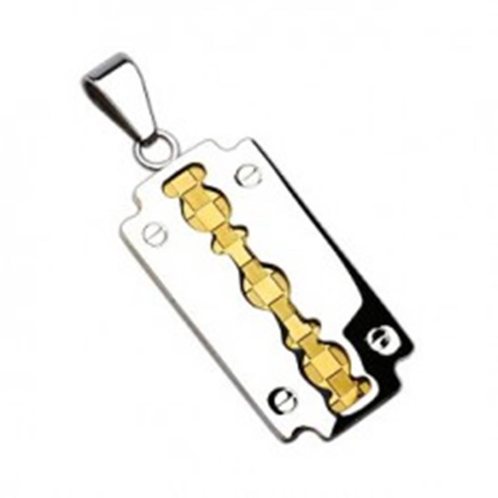 Šperky eshop Prívesok z chirurgickej ocele - dvojfarebná žiletka