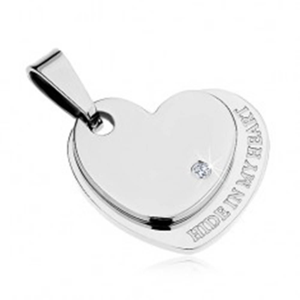 Šperky eshop Prívesok z chirurgickej ocele, lesklé dvojité srdce striebornej farby, zirkón, nápis