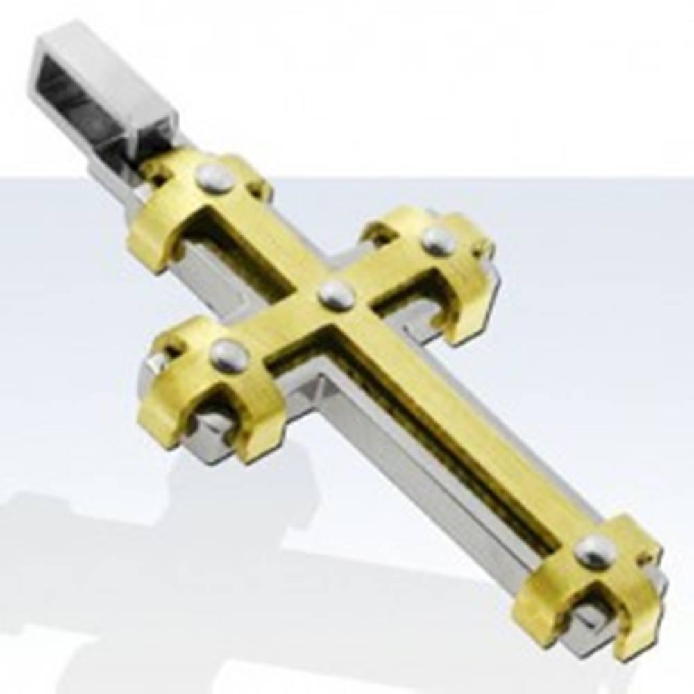 Šperky eshop Prívesok z chirurgickej ocele, lesklý kríž s líniami zlatej farby