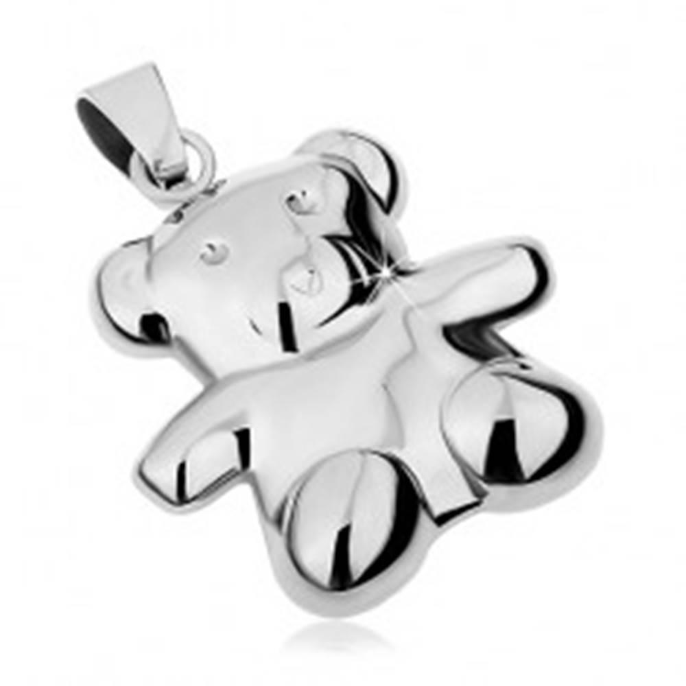 Šperky eshop Prívesok z ocele 316L striebornej farby, obojstranný medvedík, vysoký lesk