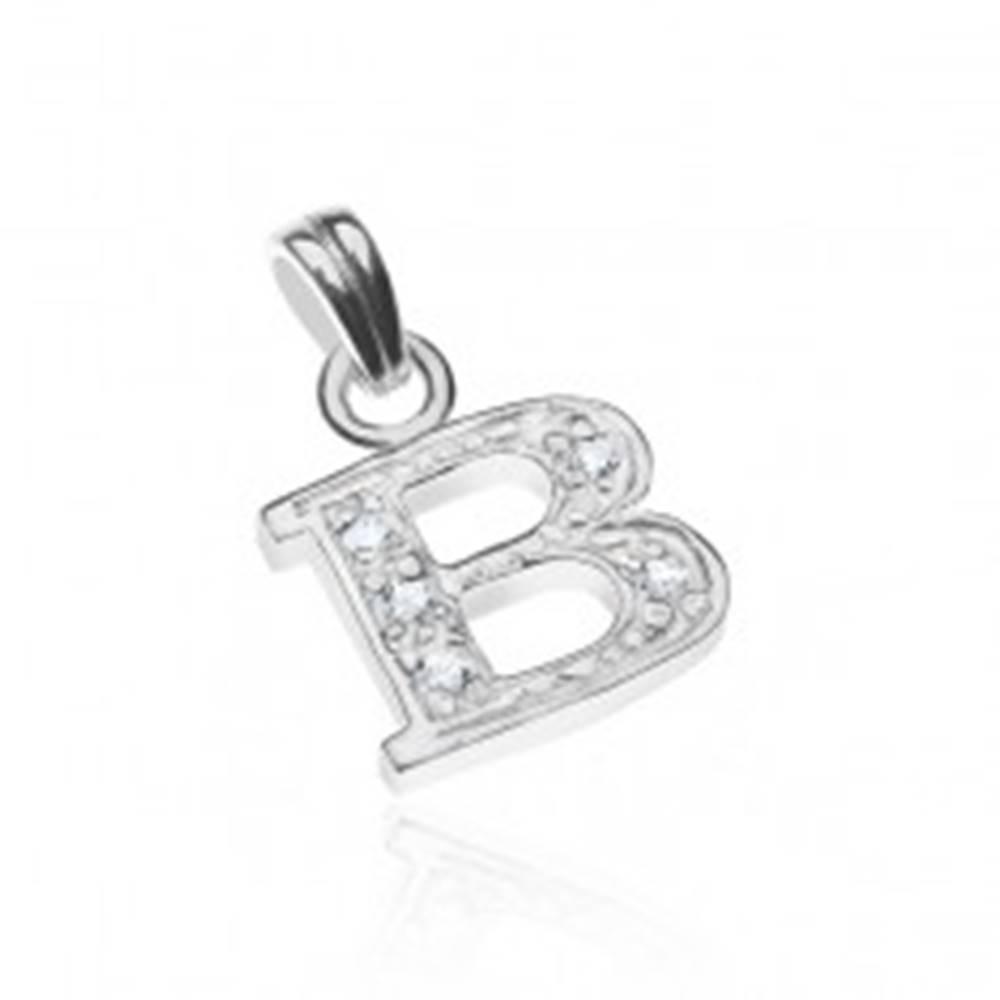 Šperky eshop Prívesok zo striebra 925 - tvar tlačeného B, vykladané zirkónmi