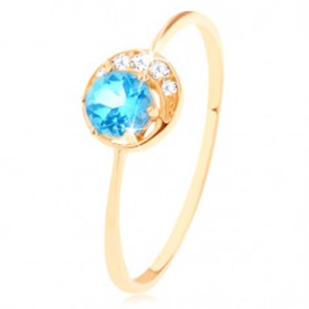 Šperky eshop Prsteň v žltom 9K zlate - malý ligotavý polmesiačik, okrúhly topás - Veľkosť: 50 mm