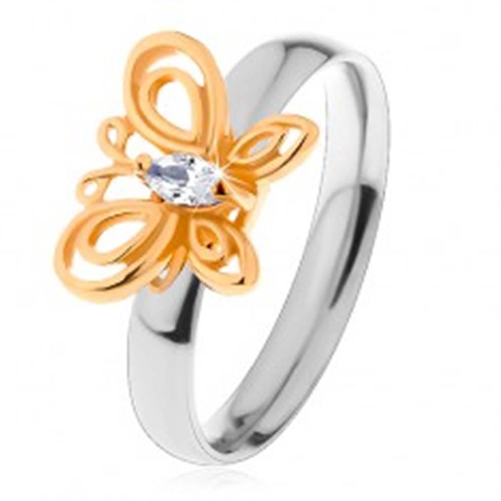 Šperky eshop Prsteň z chirurgickej ocele - dvojfarebný, motýlik s čírym zirkónom - Veľkosť: 49 mm