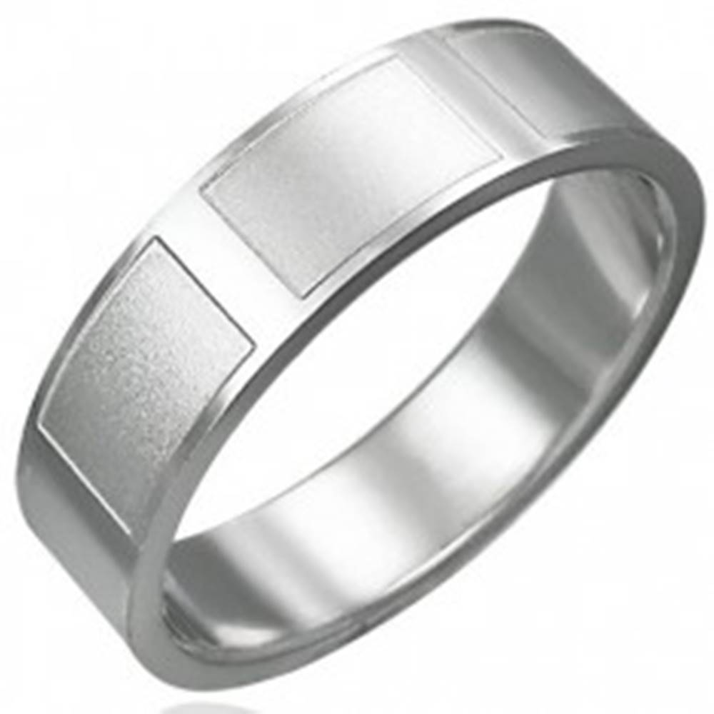Šperky eshop Prsteň z chirurgickej ocele lesklý matné obdĺžniky - Veľkosť: 54 mm
