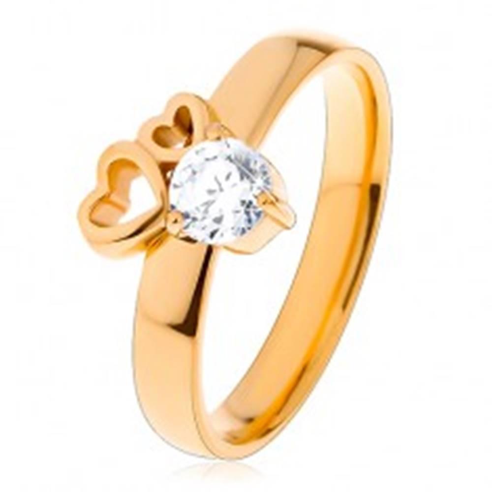 Šperky eshop Prsteň z chirurgickej ocele zlatej farby, dva obrysy sŕdc, číry zirkón - Veľkosť: 51 mm
