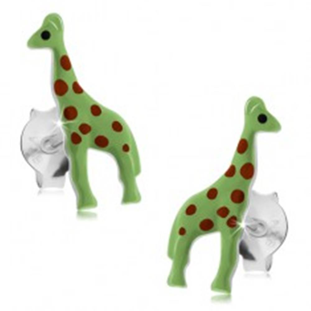 Šperky eshop Puzetové náušnice, striebro 925, neónovo zelená žirafka s červenými bodkami
