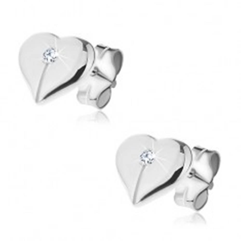 Šperky eshop Puzetové náušnice zo striebra 925 - lesklé prepolené srdce so zirkónom