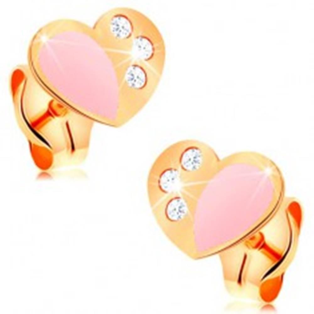 Šperky eshop Puzetové náušnice zo žltého 14K zlata, srdce zdobené ružovou glazúrou a zirkónmi