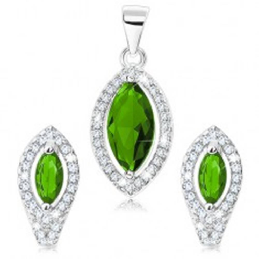 Šperky eshop Sada zo striebra 925, prívesok a náušnice, zelené zirkónové zrnko, číra kontúra