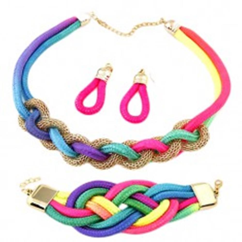 Šperky eshop Set náušníc, náramku a náhrdelníka, prepletané farebné lanká, retiazka
