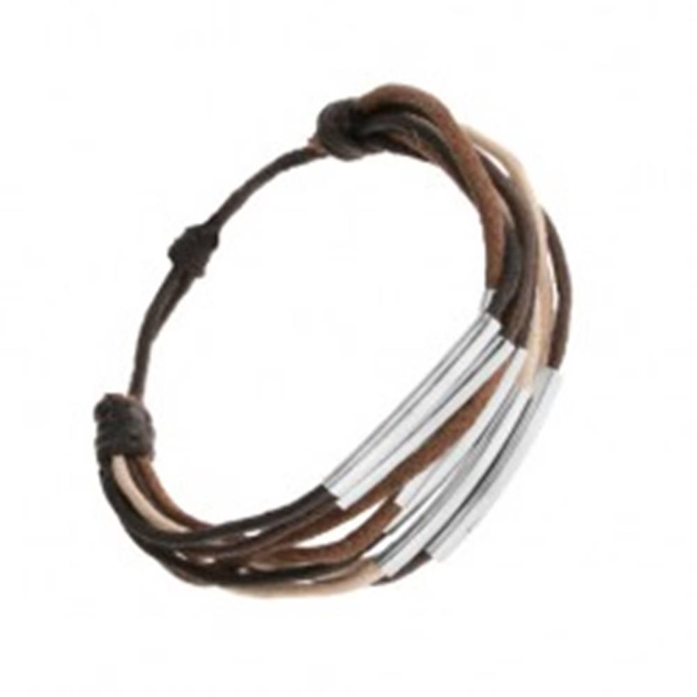 Šperky eshop Šnúrkový náramok, odtiene hnedej, béžovej a čiernej farby, oceľové články