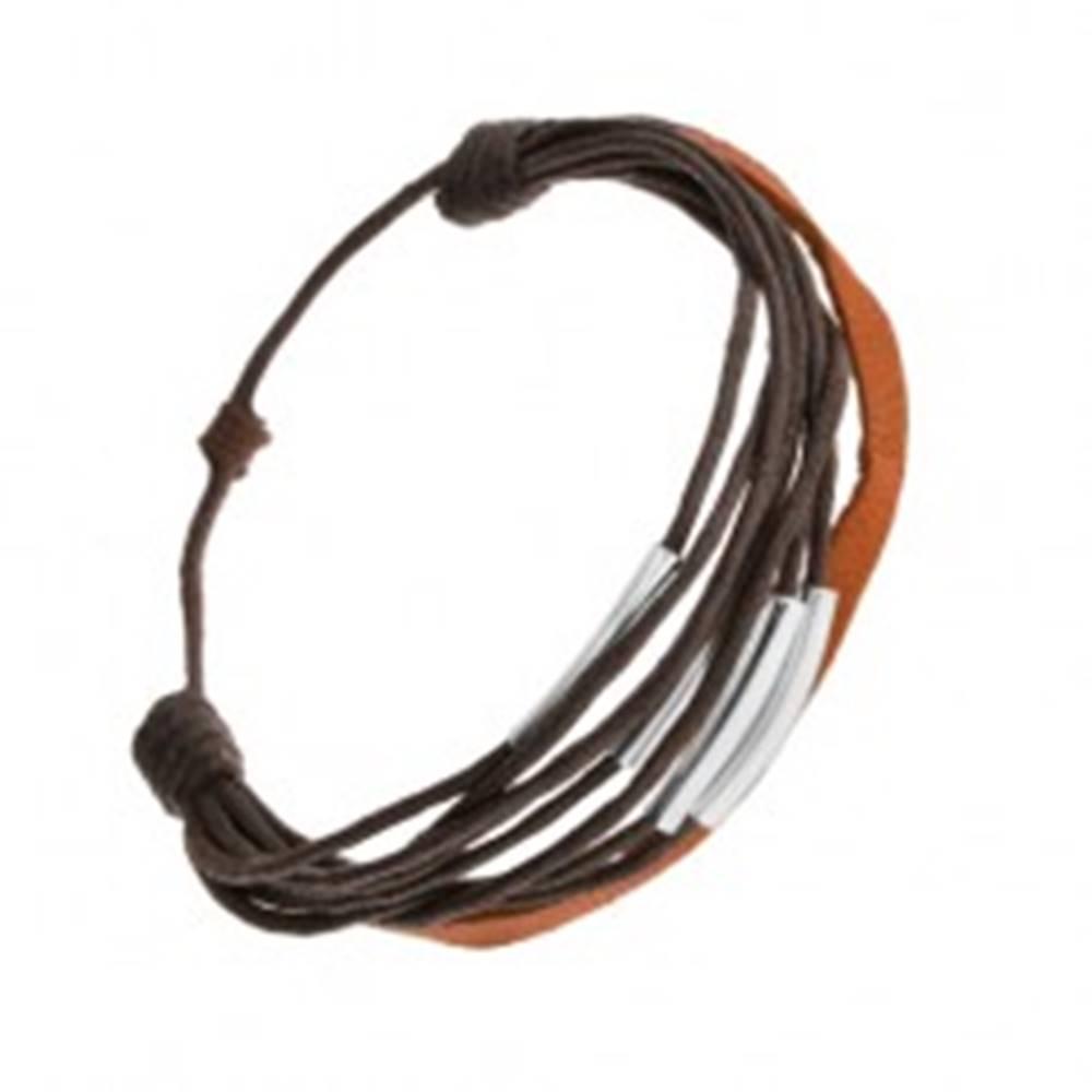 Šperky eshop Šnúrkový náramok, tmavohnedá a škoricová farba, články z ocele