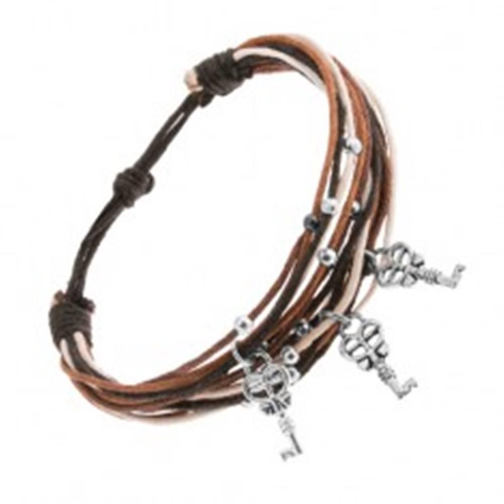 Šperky eshop Šnúrkový náramok v hnedej, škoricovej, čiernej a bielej farbe, tri kľúče