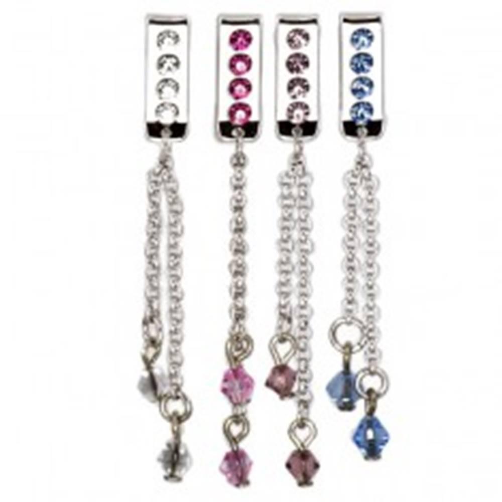 Šperky eshop Šperk na plavky - visiaca retiazka so zirkónom - Farba zirkónu: Aqua modrá - Q