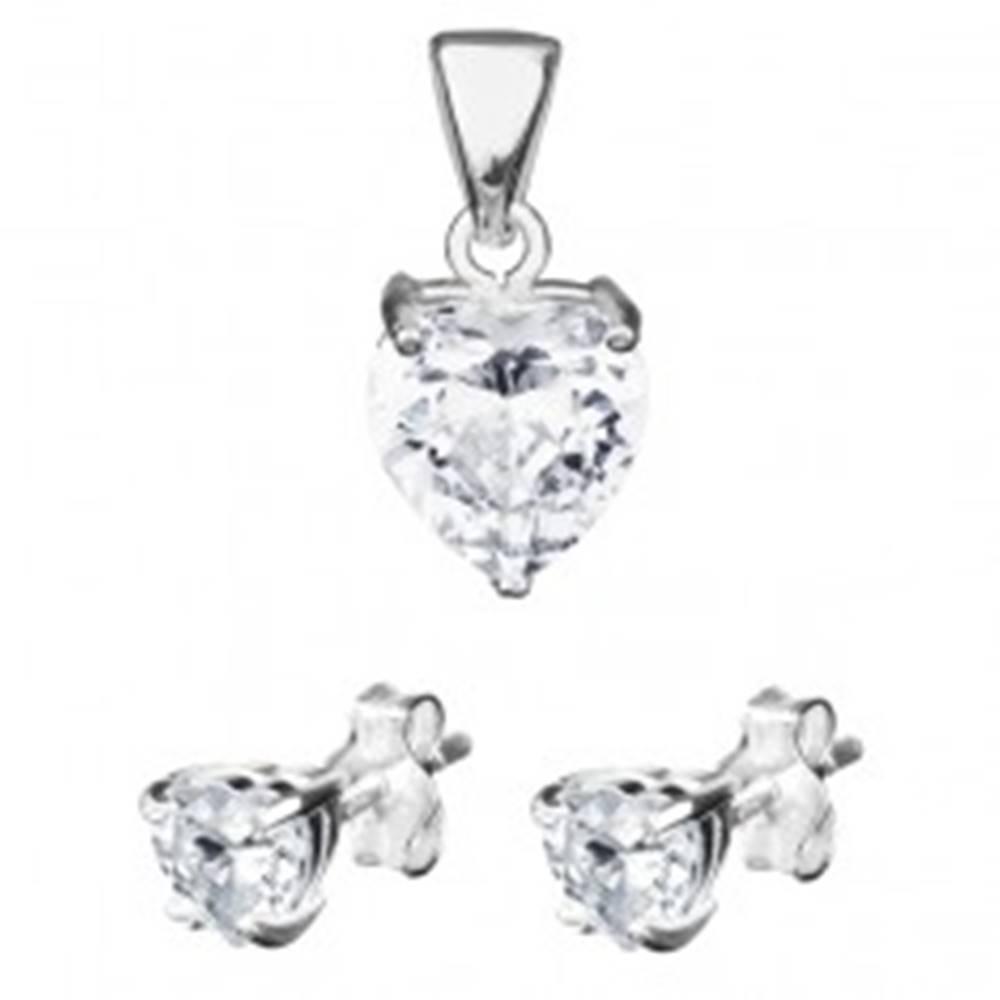 Šperky eshop Strieborná sada 925 - srdiečkové náušnice a prívesok, zirkón na podložke