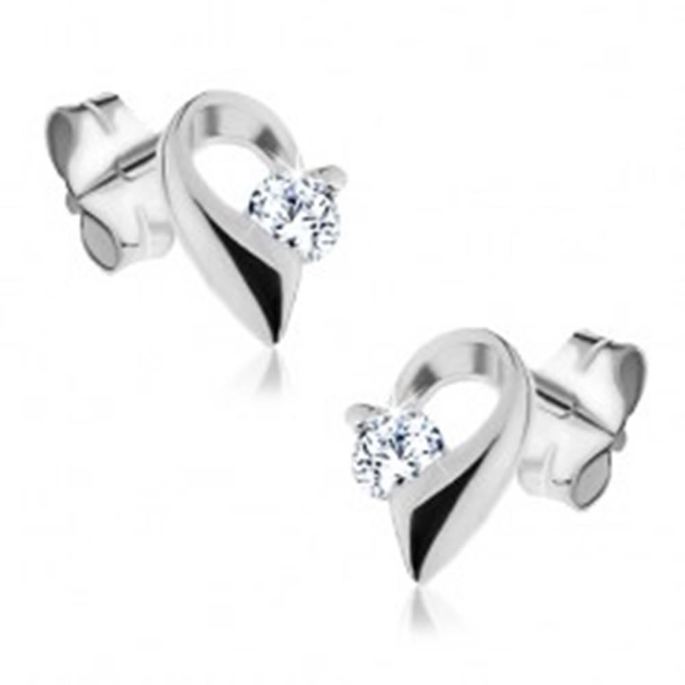 Šperky eshop Strieborné náušnice 925 - polovica srdca so zirkónom