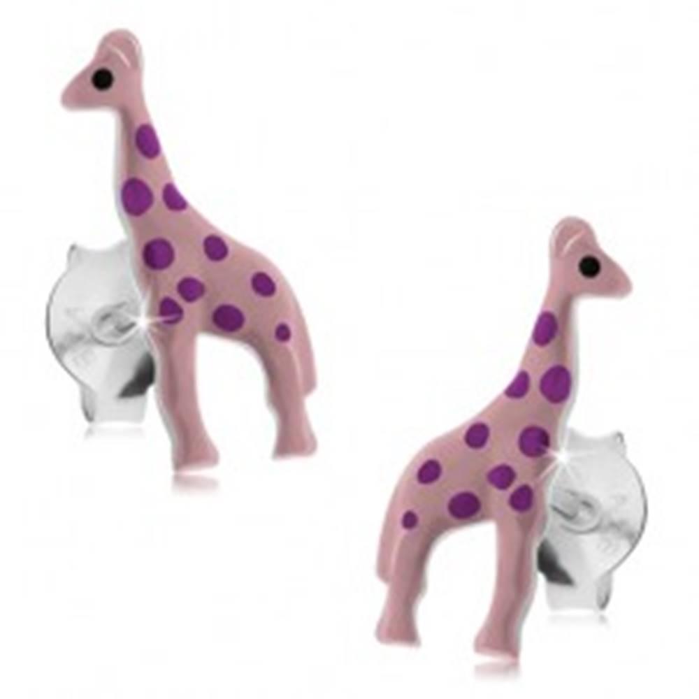 Šperky eshop Strieborné náušnice 925, svetloružová glazúrovaná žirafa s fialovými bodkami