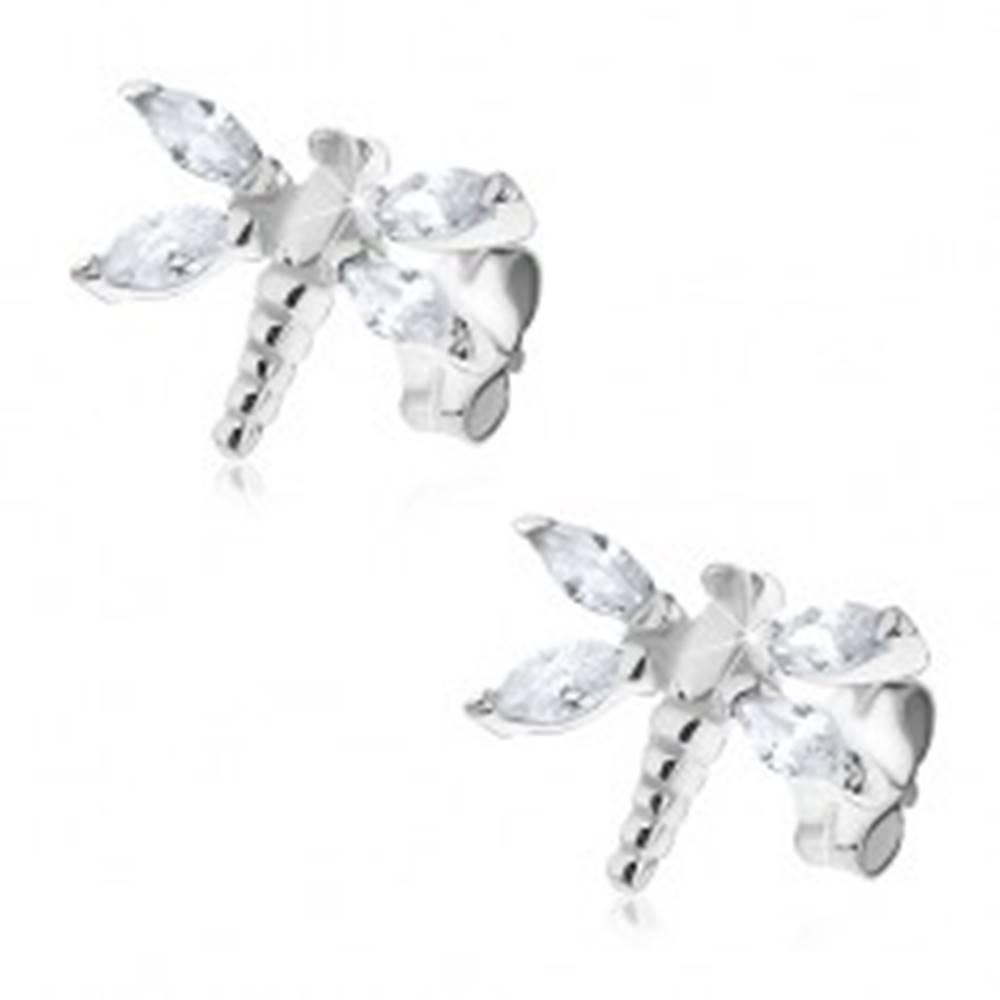 Šperky eshop Strieborné náušnice 925 - vážky so zirkónovými krídlami