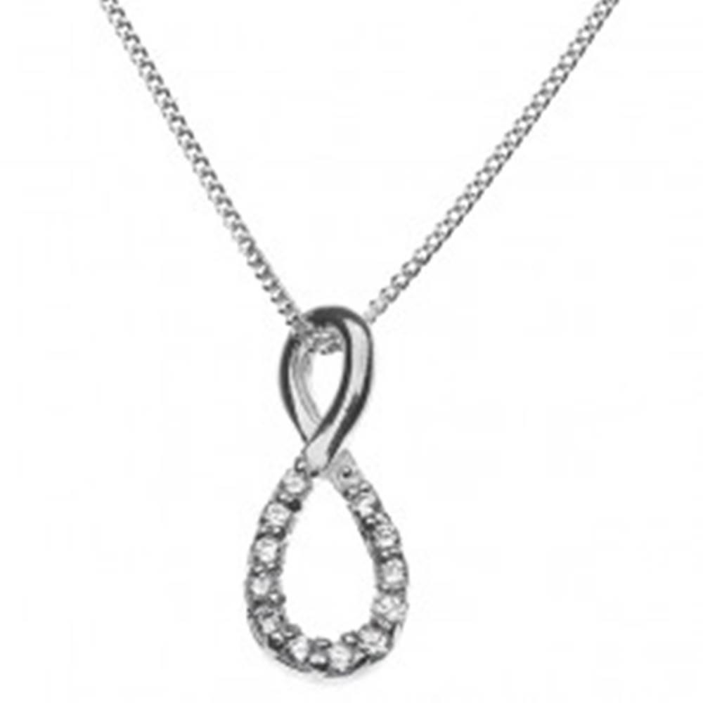 Šperky eshop Strieborný náhrdelník 925 - osmička vykladaná zirkónmi
