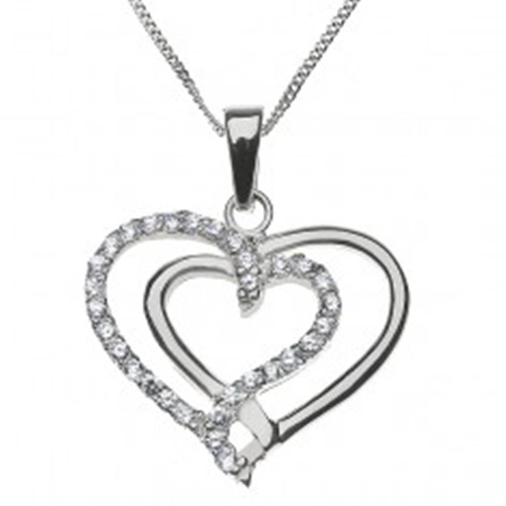 Šperky eshop Strieborný náhrdelník 925 - prepletené hladké a zirkónové srdce
