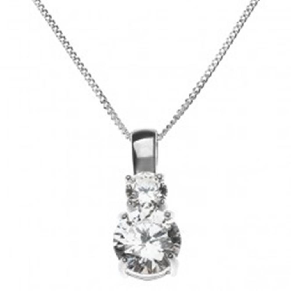 Šperky eshop Strieborný náhrdelník - dva veľké číre zirkóny na retiazke, striebro 925