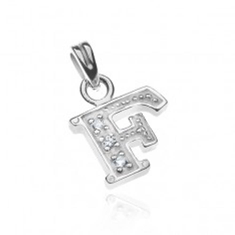 Šperky eshop Strieborný prívesok 925 - tvar tlačeného písmena F so zirkónmi
