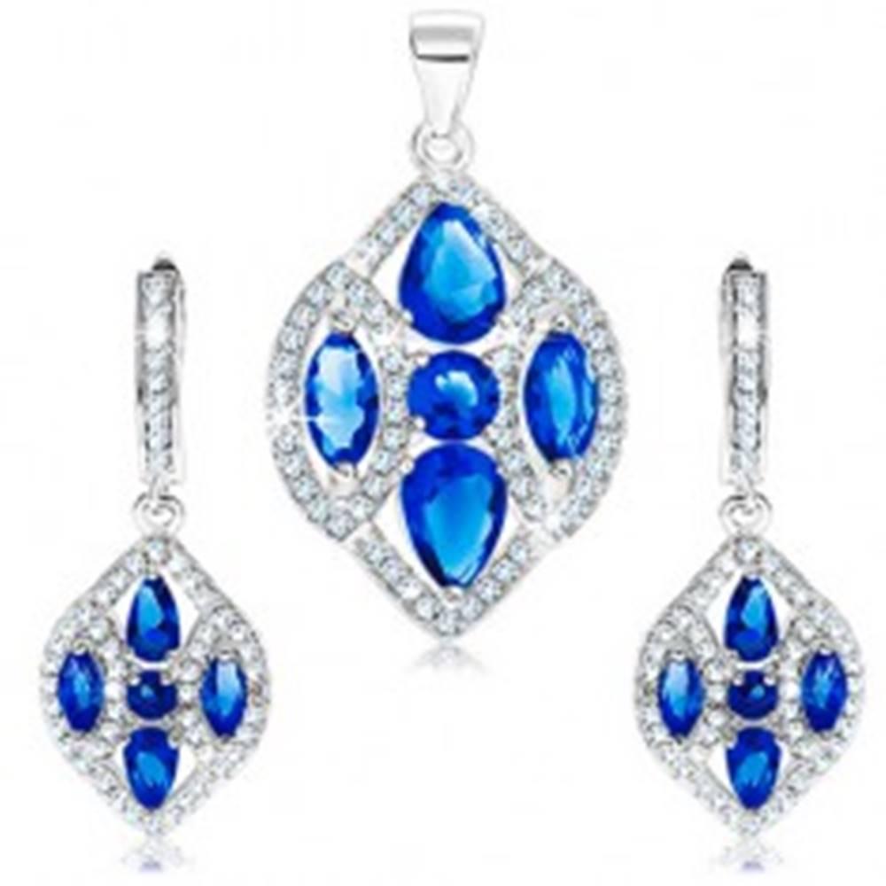 Šperky eshop Strieborný set 925 - náušnice a prívesok, zrnko s čírymi a modrými zirkónmi
