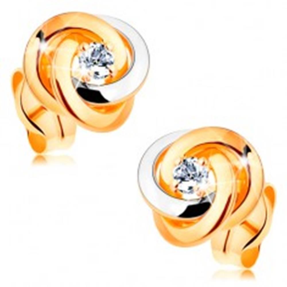 Šperky eshop Zlaté 14K náušnice - dvojfarebný uzol z troch obručí, okrúhly číry zirkón v strede