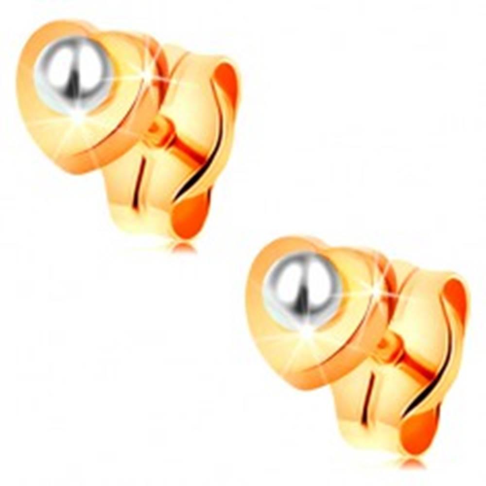 Šperky eshop Zlaté 14K náušnice - lesklé srdiečko, guľatá biela perlička v strede